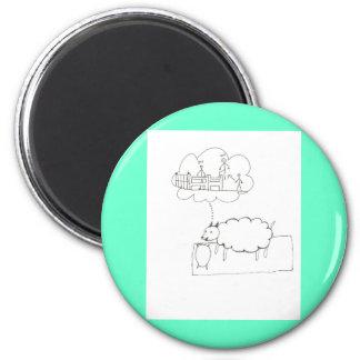 Sueño de las ovejas imán redondo 5 cm