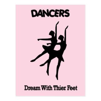 Sueño de los bailarines de ballet con sus pies tarjeta postal