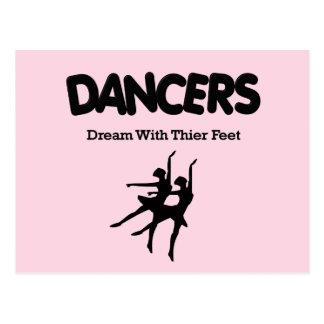 Sueño de los bailarines de ballet con sus pies tarjetas postales