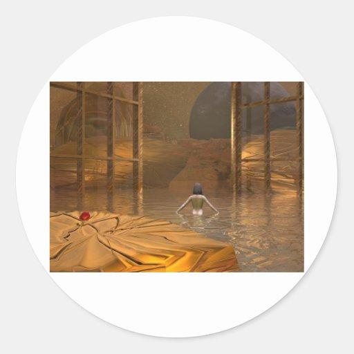 sueño de oro del arte 3d pegatina redonda