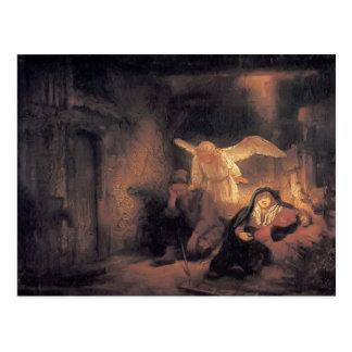Sueño de Rembrandt José en establo en Belén Tarjetas Postales