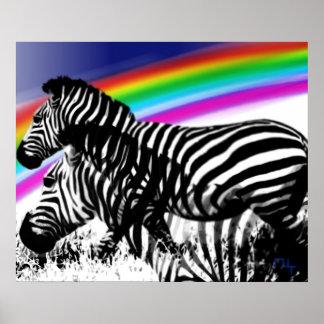 Sueño de s de la cebra 'de la piel del arco iris impresiones