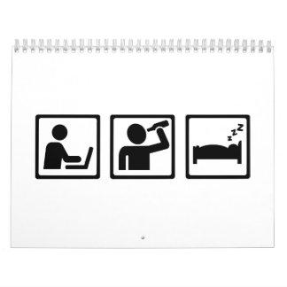Sueño del alcohol de la oficina calendario de pared