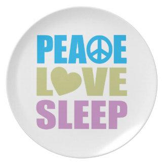 Sueño del amor de la paz plato de cena