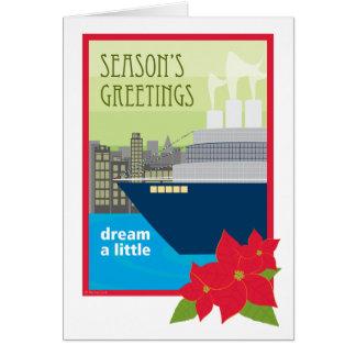Sueño del barco de cruceros del navidad un poco tarjeta