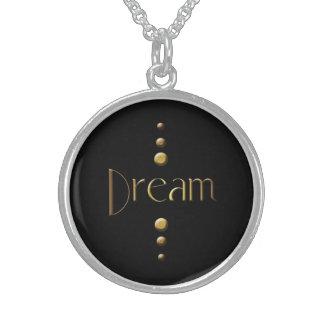 Sueño del bloque del oro de 3 puntos y fondo negro collares de plata esterlina