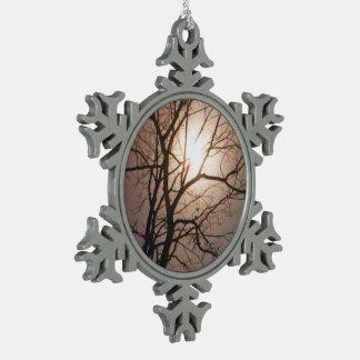 Sueño del claro de luna adorno de peltre en forma de copo de nieve
