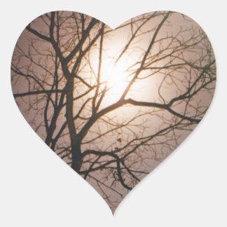 Sueño del claro de luna pegatina en forma de corazón