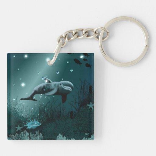 Sueño del delfín llavero cuadrado acrílico a doble cara