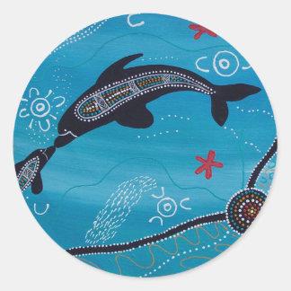 Sueño del delfín y del becerro pegatina redonda