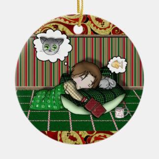 Sueño del día de fiesta del animado adorno navideño redondo de cerámica