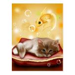 Sueño del gatito postal