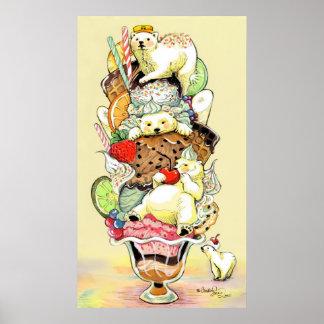 Sueño del helado del oso polar de lujo póster