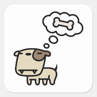 Sueño del perro pegatinas cuadradases