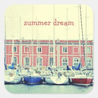 Sueño del verano pegatina cuadrada