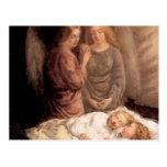 Sueño - dos ángeles y niños de guarda tarjeta postal