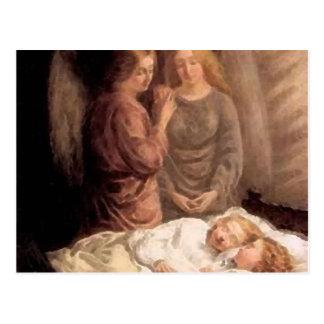 Sueño - dos ángeles y niños de guarda postal