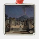 Sueño en las ruinas de Pompeya, 1866 Adorno Cuadrado Plateado