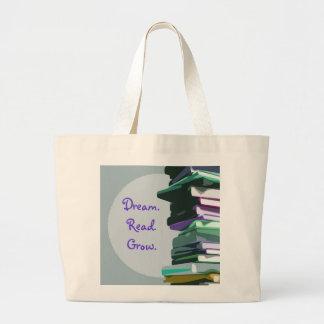 Sueño. Leído. Crezca. Pila de libro - bolso Bolsas