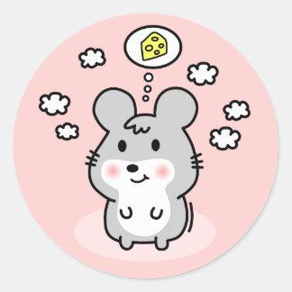 sueño lindo del queso del ratón pegatina redonda