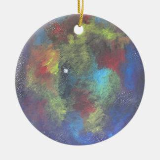 Sueño nebuloso adorno redondo de cerámica