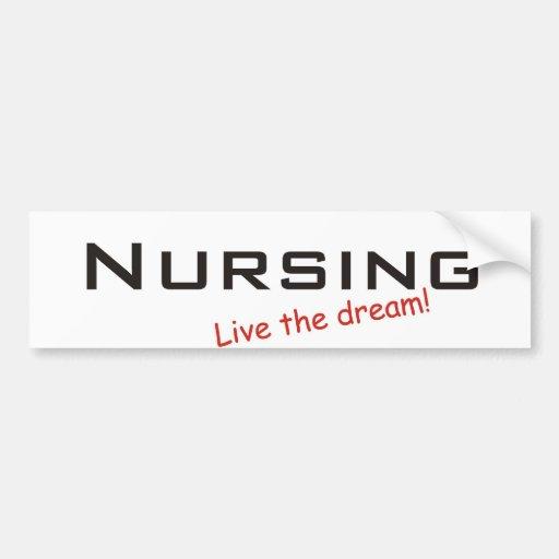 Sueño/oficio de enfermera pegatina de parachoque
