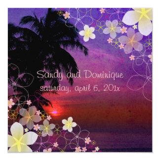 Sueño/plumeria/playa/tropical del hula de invitación 13,3 cm x 13,3cm