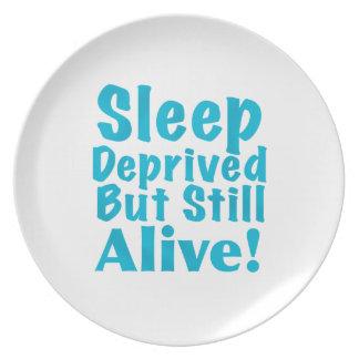 Sueño privado pero aún vivo en azul plato de comida