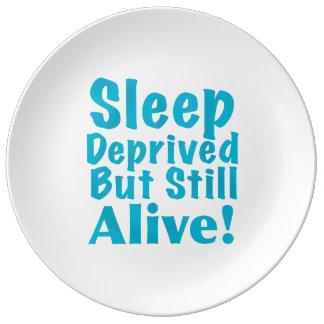 Sueño privado pero aún vivo en azul platos de cerámica