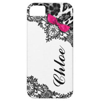 Sueño rosado candente del leopardo 311 en cordón funda para iPhone 5 barely there