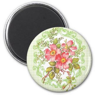 Sueño rosado de la cabaña de las flores del vintag imán para frigorífico