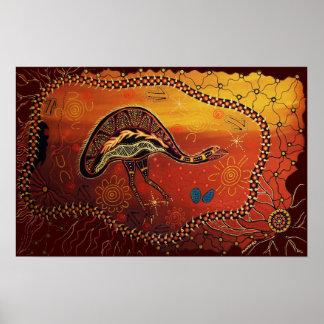 Sueño salvaje del Emu Póster