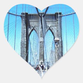 sueño sonriente de Brooklyn del puente Pegatina En Forma De Corazón