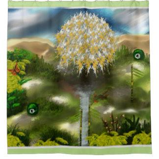 Sueño surrealista de los ojos del arte abstracto cortina de baño