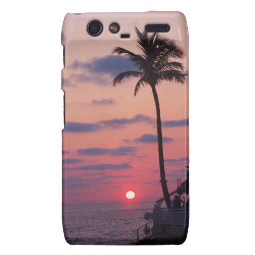 Sueño tropical de la puesta del sol droid RAZR fundas