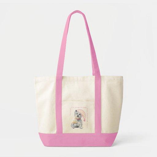 Sueños agradables Westie - en rosa Bolsa Lienzo