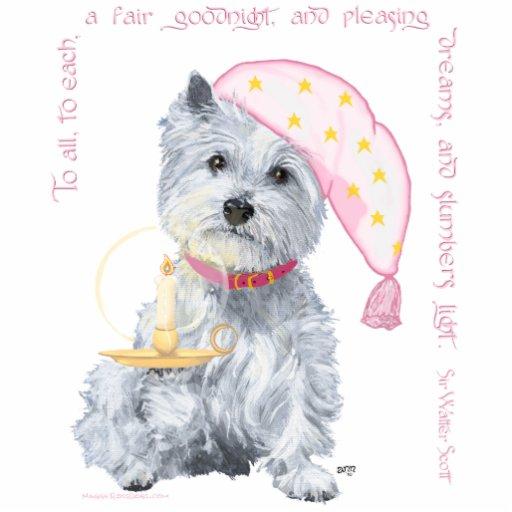 Sueños agradables Westie - en rosa Fotoescultura Vertical