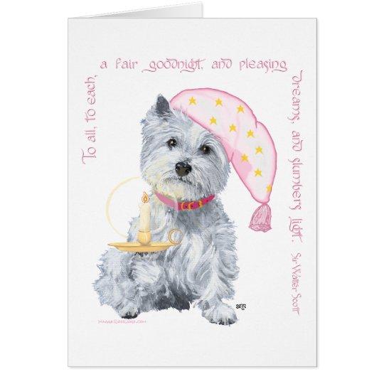 Sueños agradables Westie - en rosa Tarjeta De Felicitación