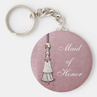Sueños color de rosa Tasseled Llavero Personalizado