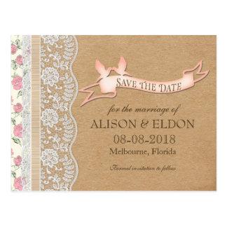 Sueños de encaje románticos con las flores postal