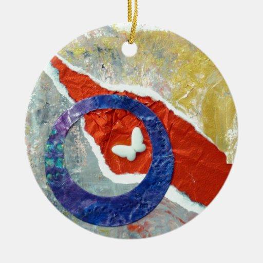 Sueños de la mariposa - collage ornaments para arbol de navidad