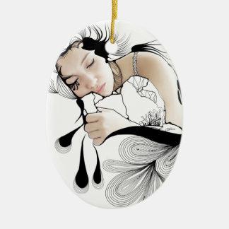 Sueños de lunes adorno ovalado de cerámica
