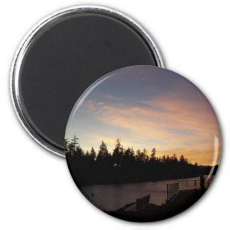 Sueños de oro de la puesta del sol imán redondo 5 cm
