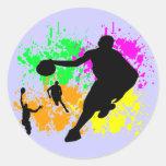 Sueños del baloncesto pegatina redonda