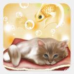 Sueños del gatito calcomanias cuadradas