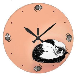 Sueños del gatito reloj redondo grande