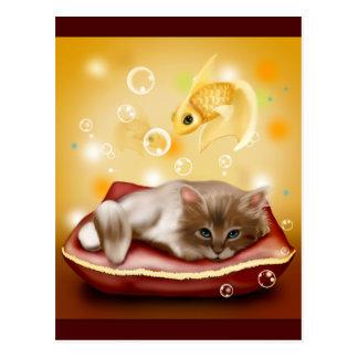 Sueños del gatito tarjetas postales