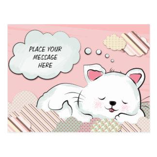 Sueños del gato con la tarjeta pintada texturas de tarjetas postales