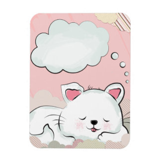 Sueños del gato con las nubes pintadas texturas rectangle magnet