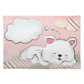 Sueños del gato con las nubes pintadas texturas mantel